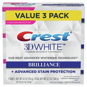 【海外発送】Crest Toothpaste 3D White Brilliance 4.1oz (Pack of 3)