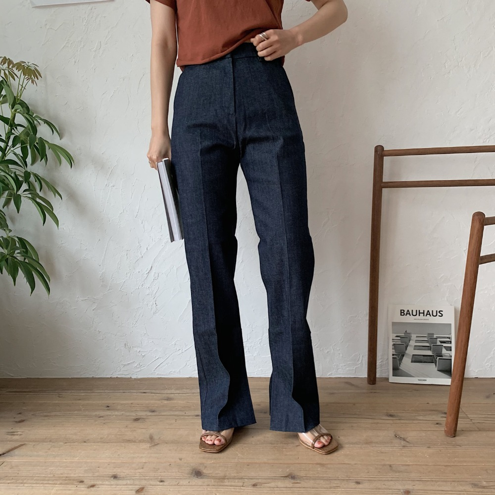 《予約販売》non wash slit long jeans/2colors