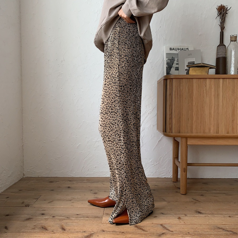 《予約販売》leopard pleats slit pants