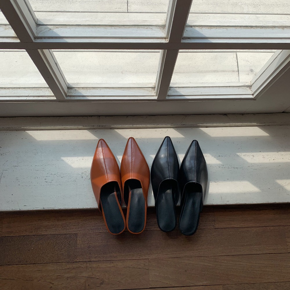 《予約販売》stitch pointed toe sabo/2colors
