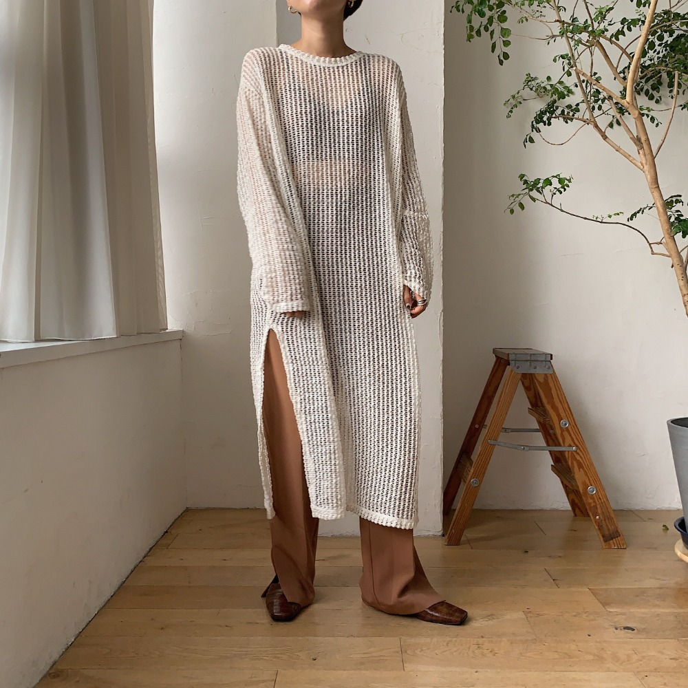《予約販売》mesh long knit ops/2colors