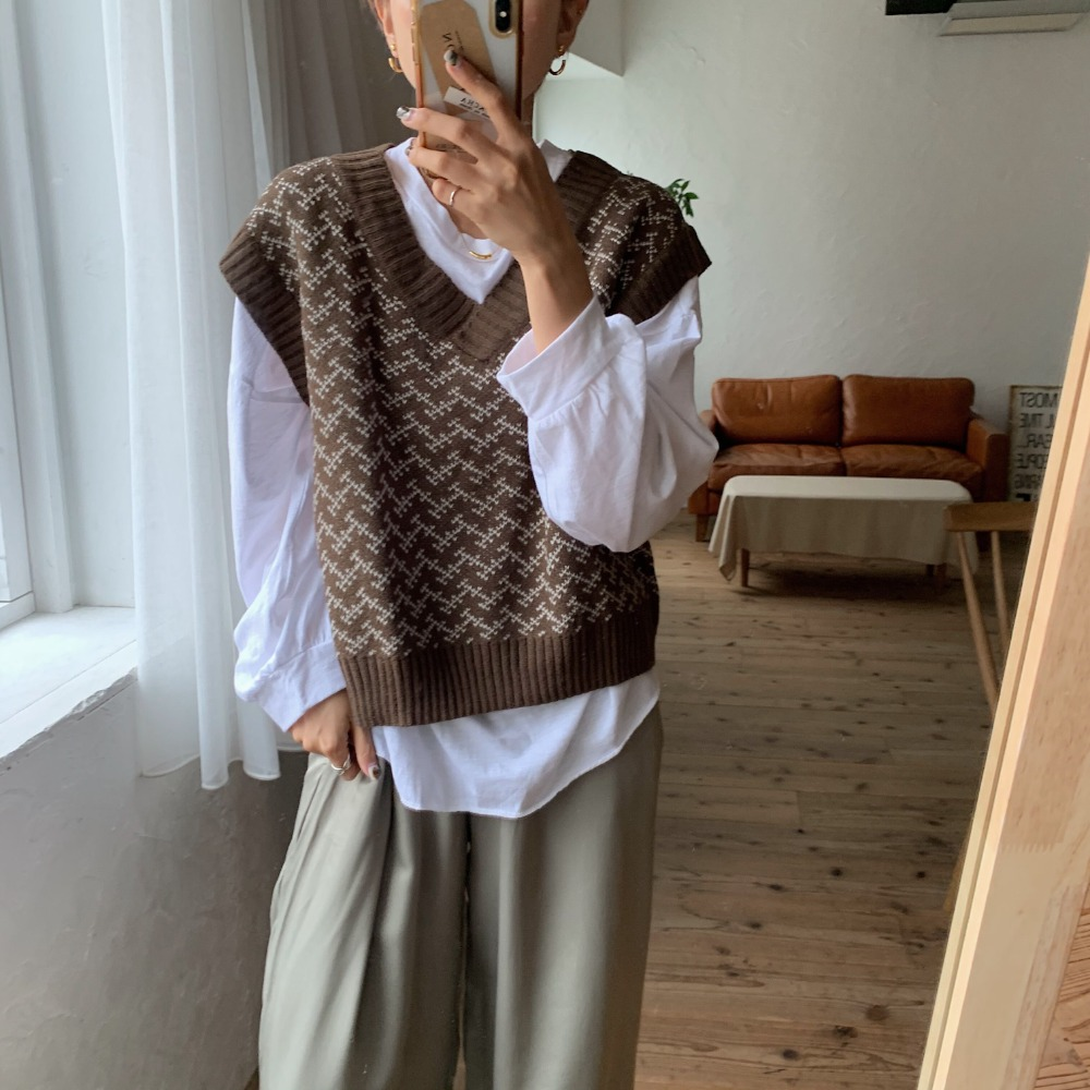 《予約販売》pattern knit vest/2colors