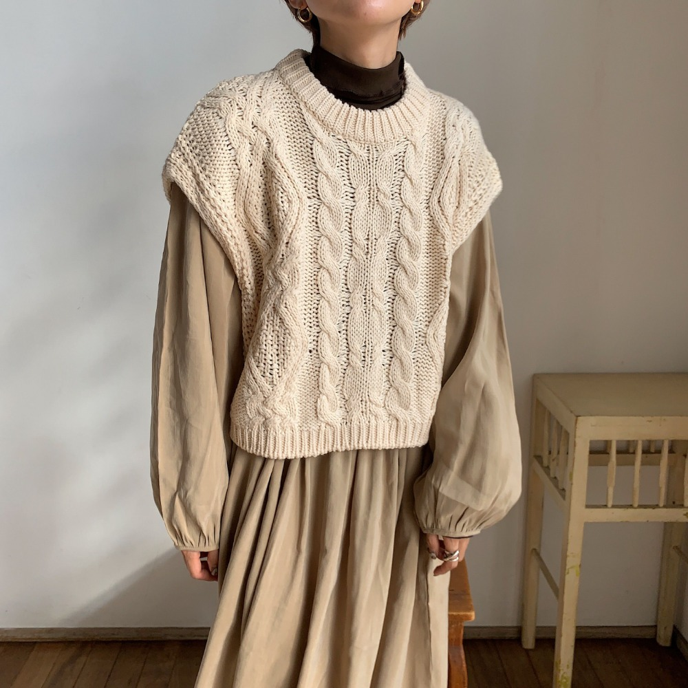《予約販売》cable minimal knit vest/3colors