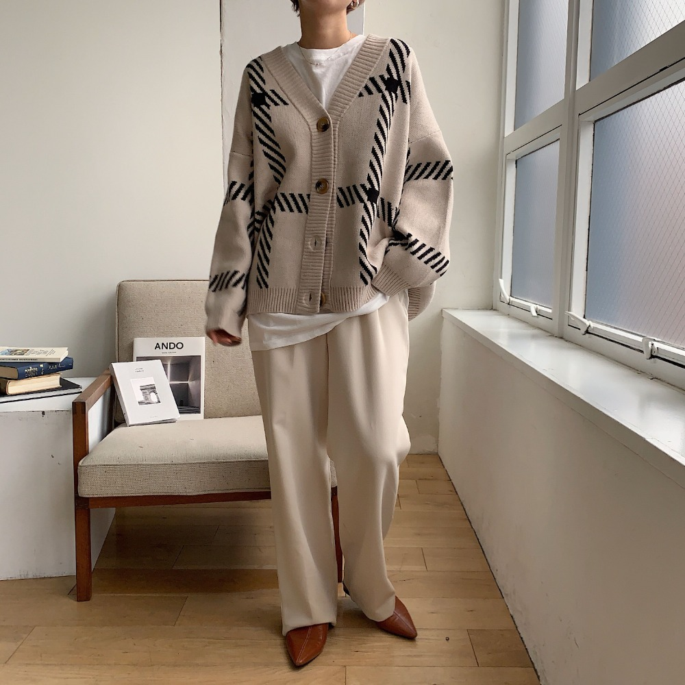 《予約販売》unisex herringbone check knit cardigan/2colors