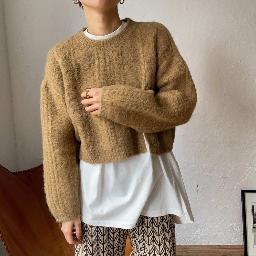 【nokcha original】slit minial cable knit/camel