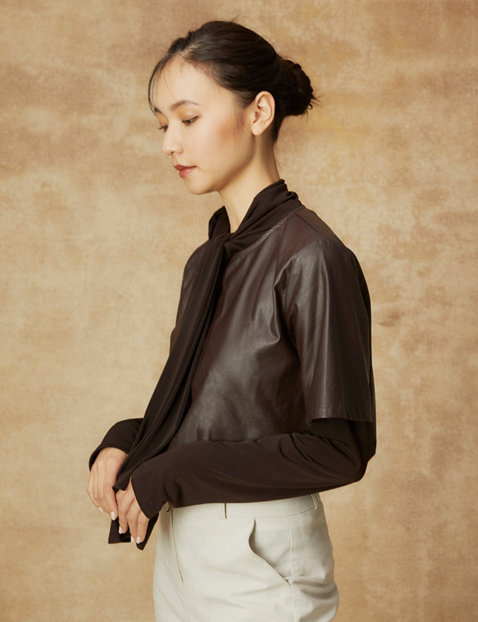 Fake leather top
