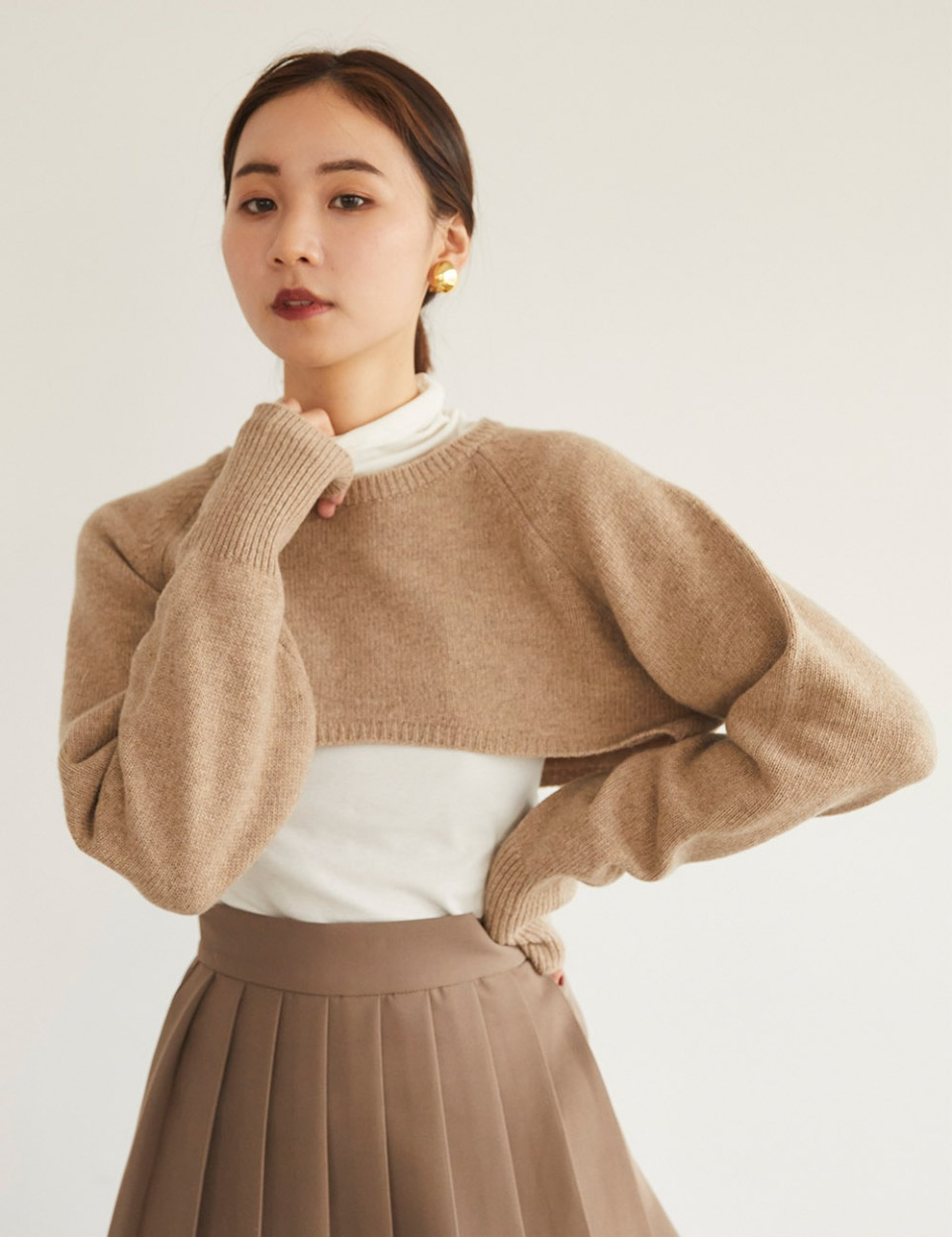 Half layered wool knit