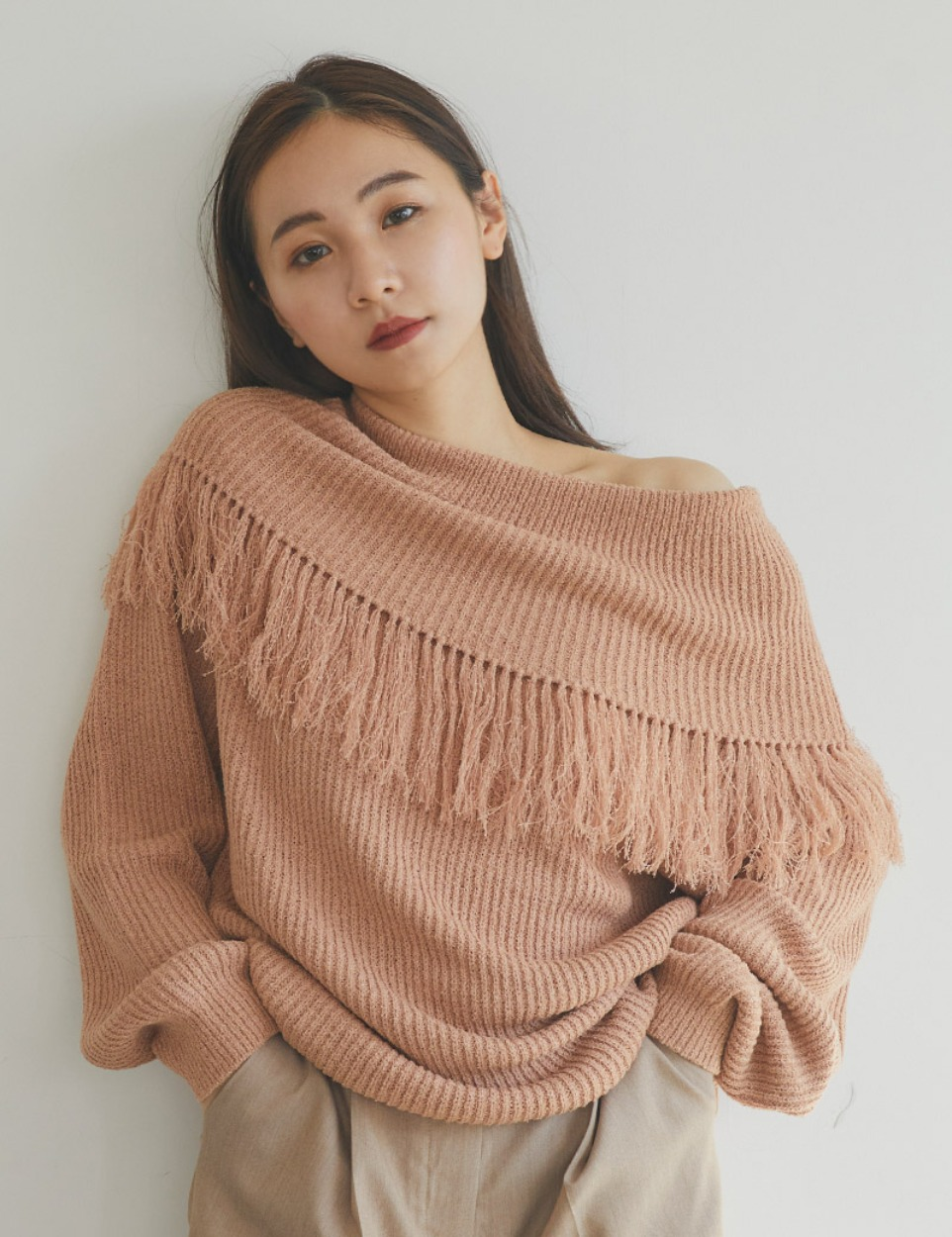 Fringe over knit