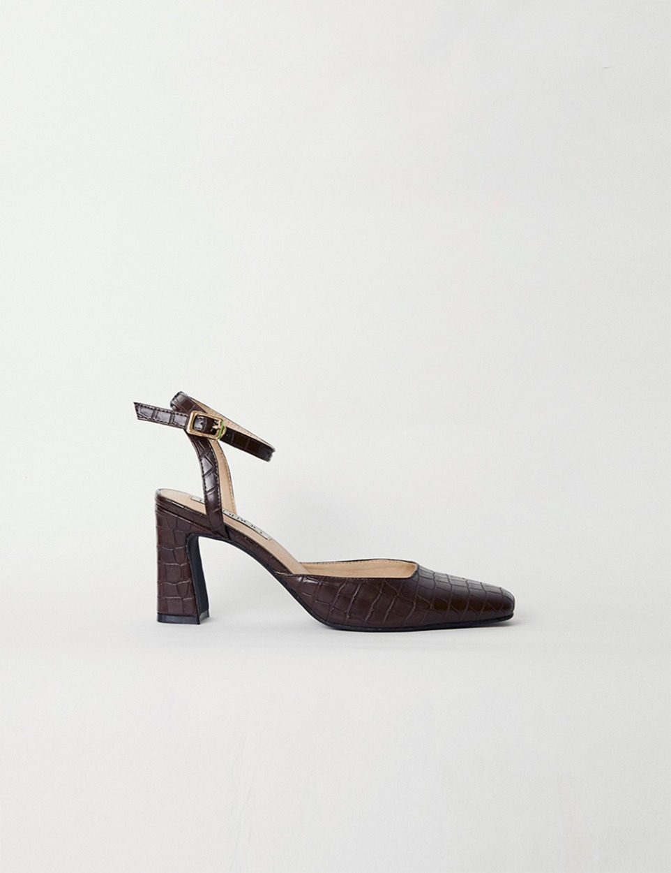 Croco square heel