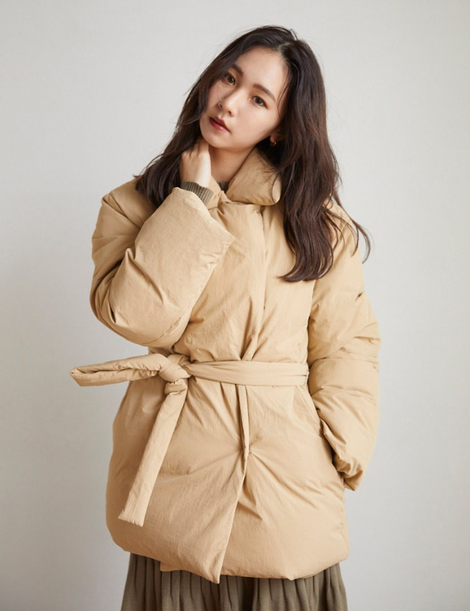 Modern wrap down coat