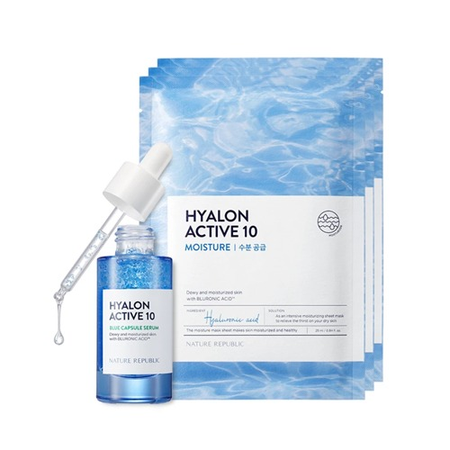 [NATURE REPUBLIC] HYALON ACTIVE 10 BLUE CAPSULE SERUM WITH MASK SHEET SETヒアルロンアクティブ10ブルーカプセルセラム+パック3枚セット