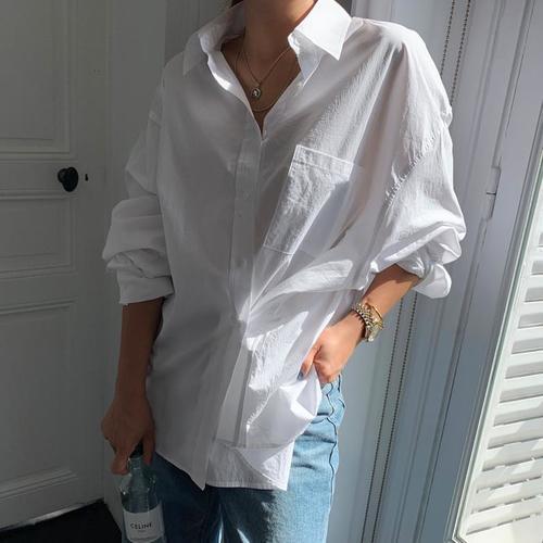 シャツ ブラウス 長袖 レディース/yシャツ ロング シンプル 無地 ...