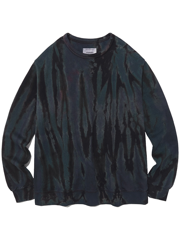 SHOWER DYEING CREWNECK IA [BLACK]