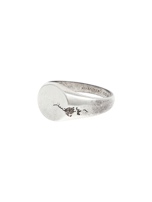 CRACKED OVAL RING JA [SILVER]