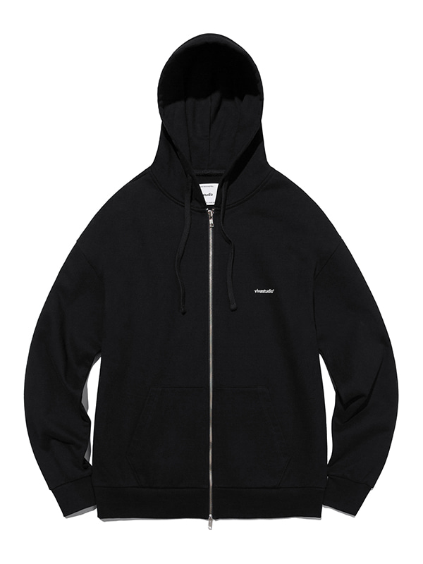 SIMPLE HOODIE ZIP UP [BLACK]