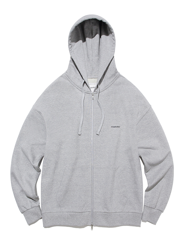SIMPLE HOODIE ZIP UP [GREY]]