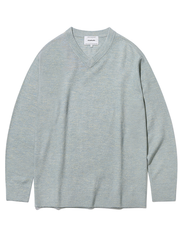 V-NECK KNIT KS [LIGHT BLUE]