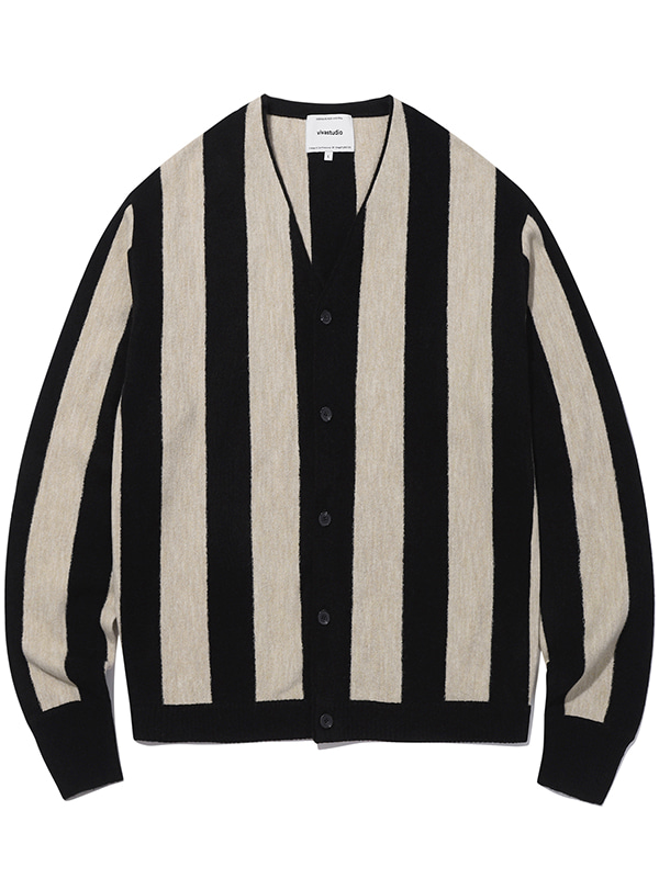 STRIPE CARDIGAN KS [BLACK]