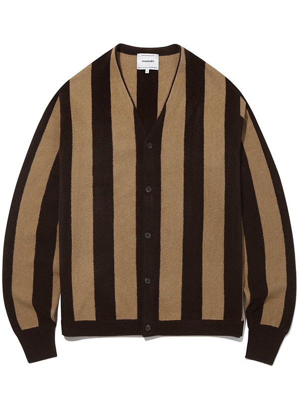STRIPE CARDIGAN KS [BROWN]