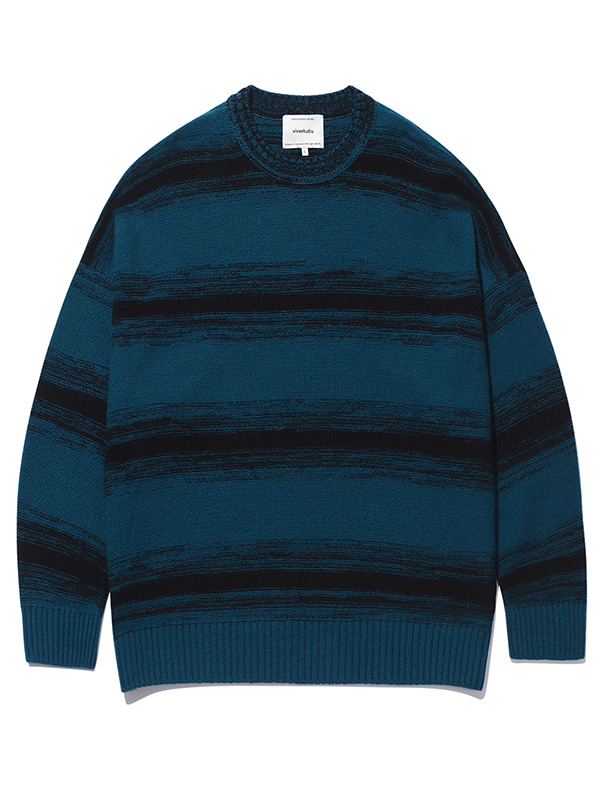 STRIPE OVER FIT KNIT KS [NAVY]