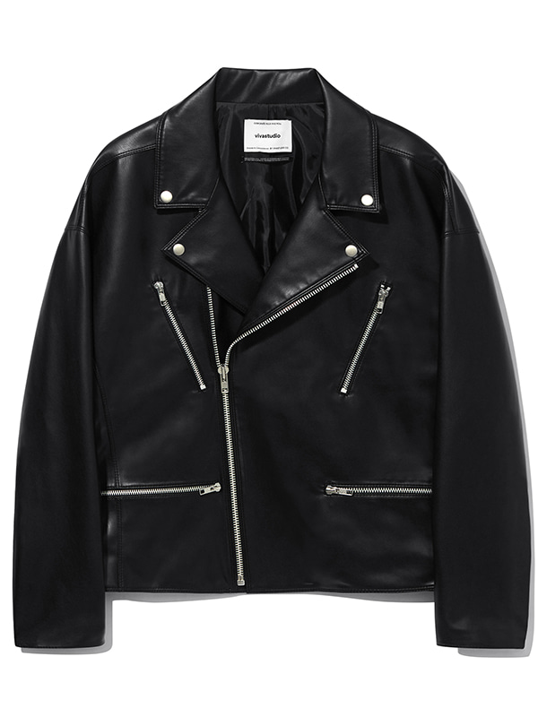 VEGAN LEATHER OVER FIT RIDERS KS [BLACK]