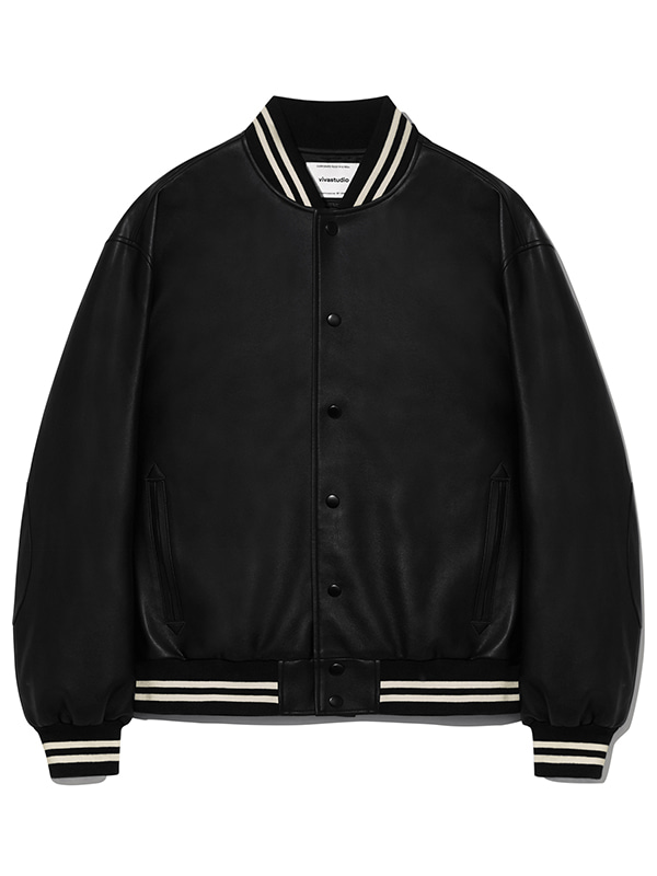 VEGAN LEATHER STADIUM JACKET KS [BLACK]