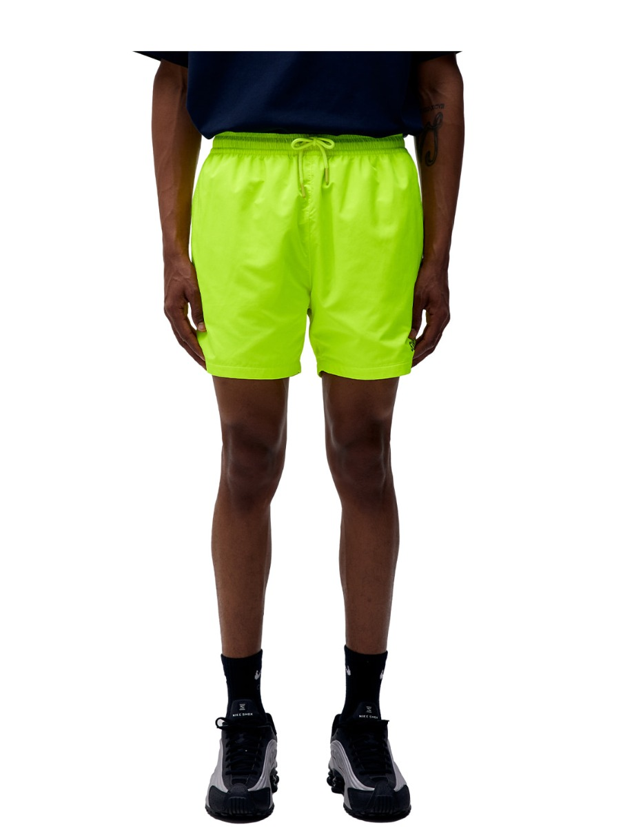 SOLID WOVEN SHORTS - LIME YELLOW
