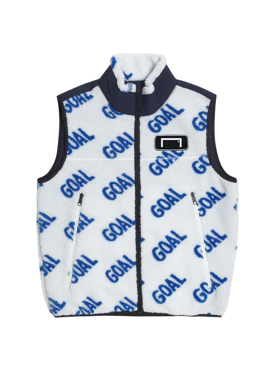 REVERSIBLE FLEECE VEST - WHITE/NAVY
